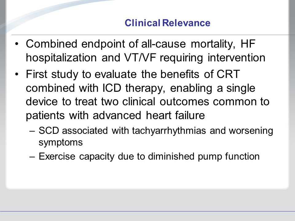 Clinical Relevance Combined endpoint of all-cause mortality, HF hospitalization and VT/VF requiring intervention.
