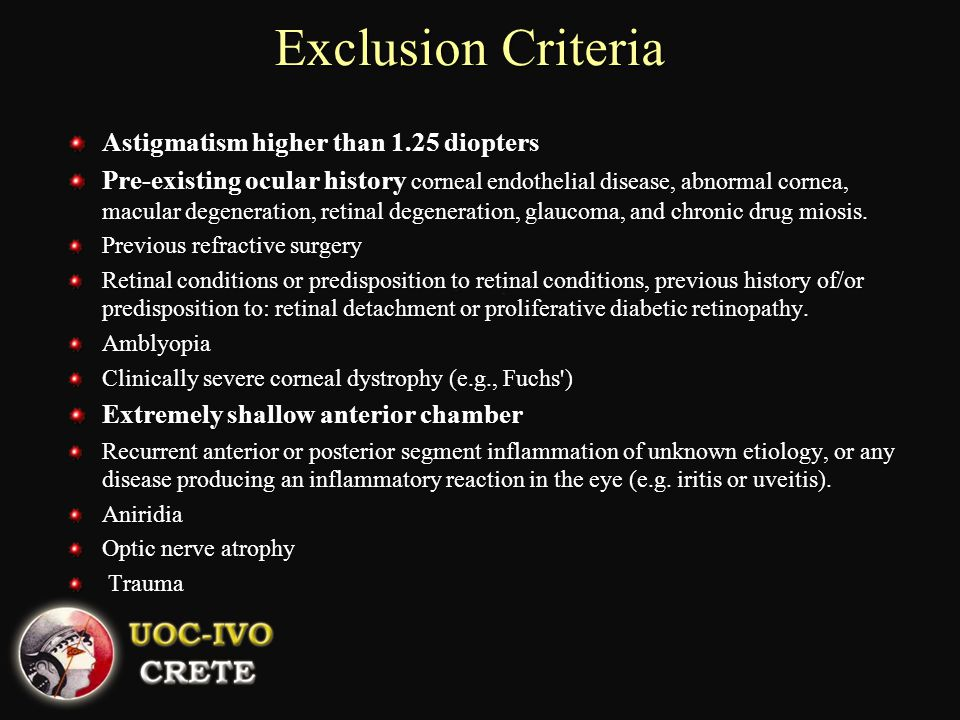 Exclusion Criteria Astigmatism higher than 1.25 diopters
