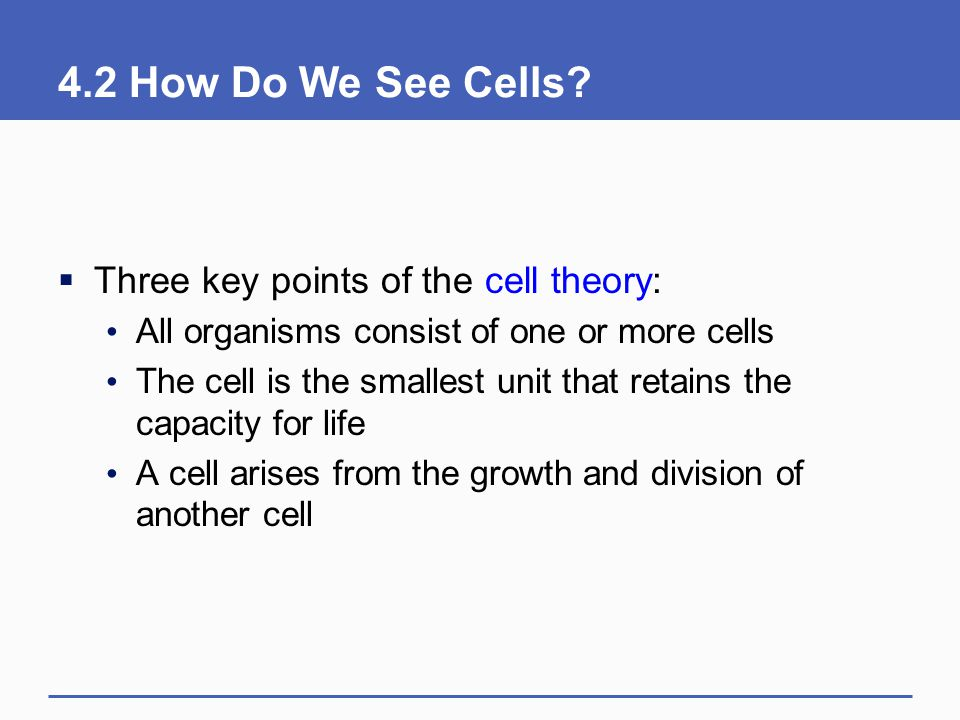4.2 How Do We See Cells Three key points of the cell theory: