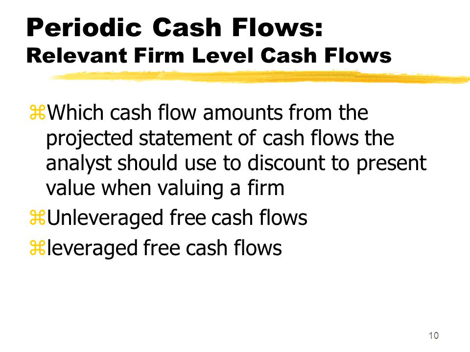 Periodic Cash Flows: Relevant Firm Level Cash Flows