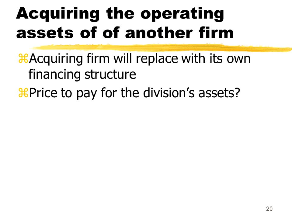 Acquiring the operating assets of of another firm