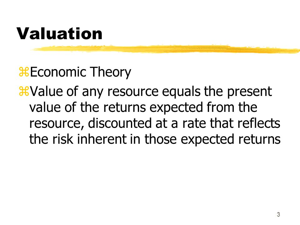 Valuation Economic Theory