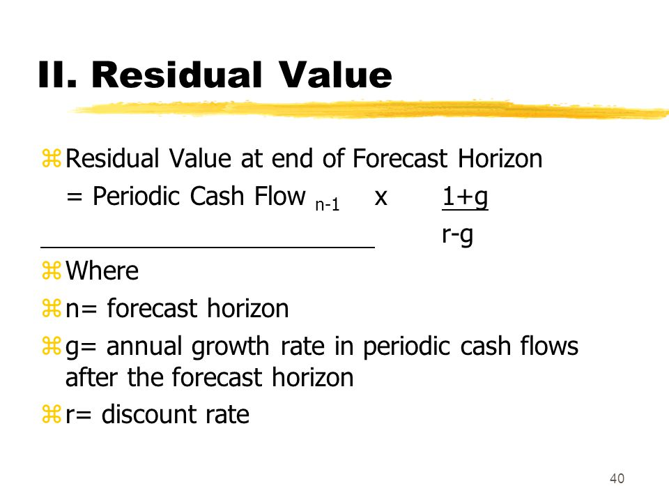 II. Residual Value Residual Value at end of Forecast Horizon