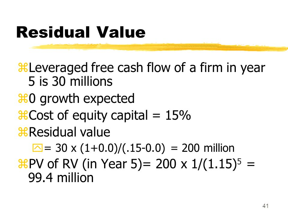 Residual Value Leveraged free cash flow of a firm in year 5 is 30 millions. 0 growth expected. Cost of equity capital = 15%