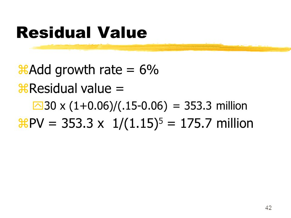 Residual Value Add growth rate = 6% Residual value =