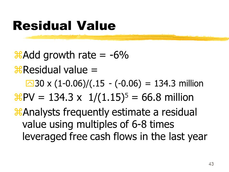 Residual Value Add growth rate = -6% Residual value =