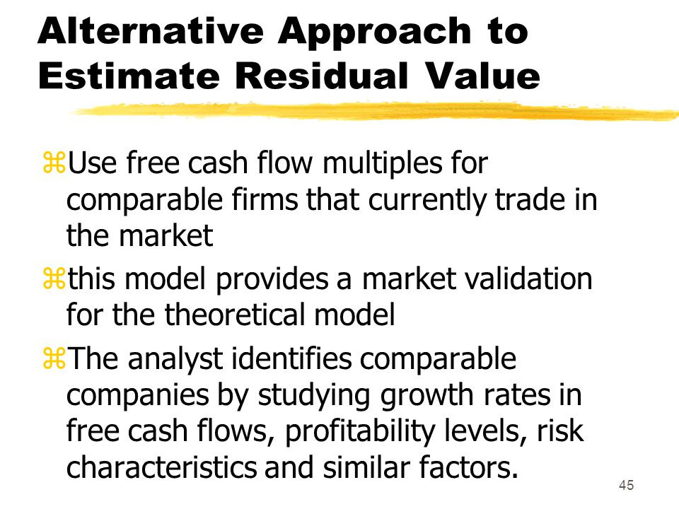 Alternative Approach to Estimate Residual Value