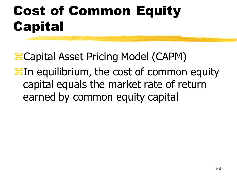 Cost of Common Equity Capital