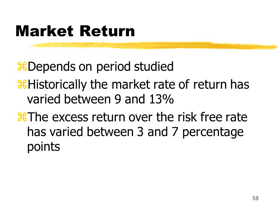 Market Return Depends on period studied