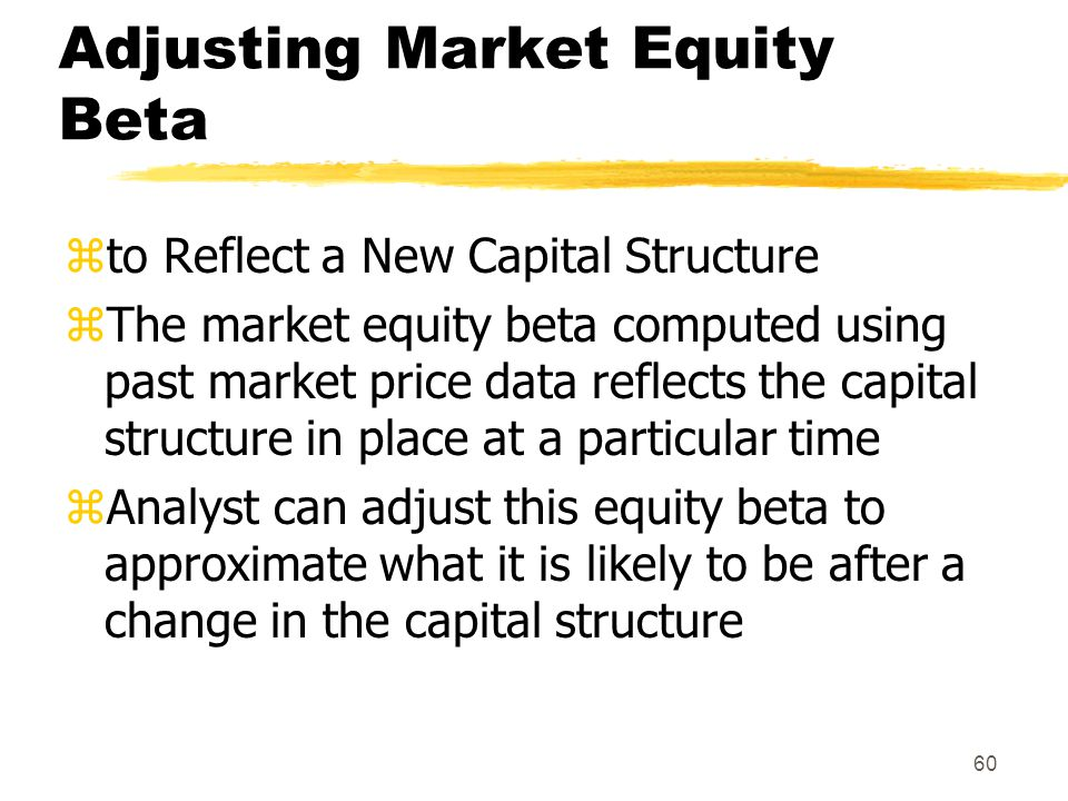 Adjusting Market Equity Beta