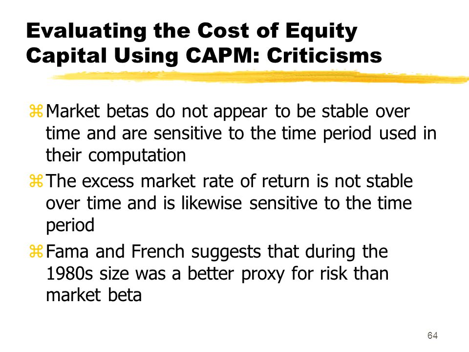 Evaluating the Cost of Equity Capital Using CAPM: Criticisms