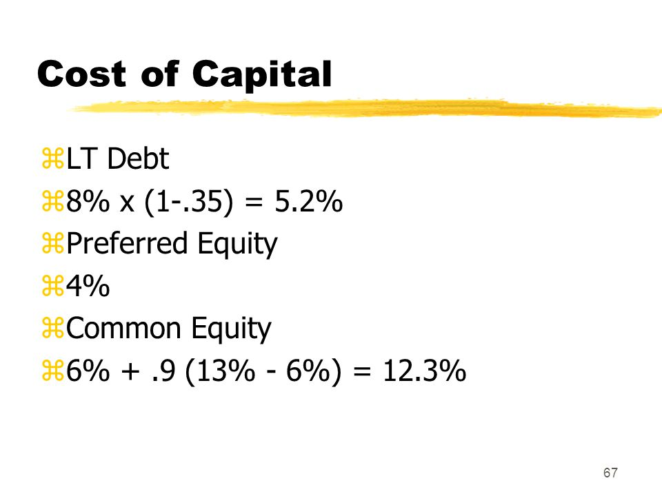 Cost of Capital LT Debt 8% x (1-.35) = 5.2% Preferred Equity 4%