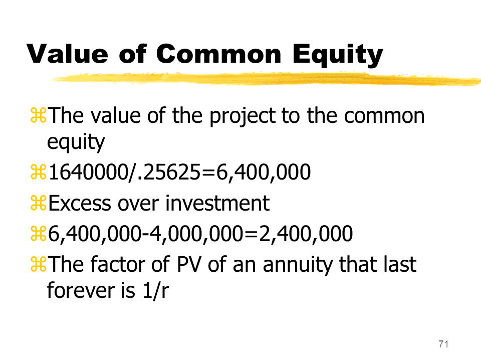 Value of Common Equity The value of the project to the common equity