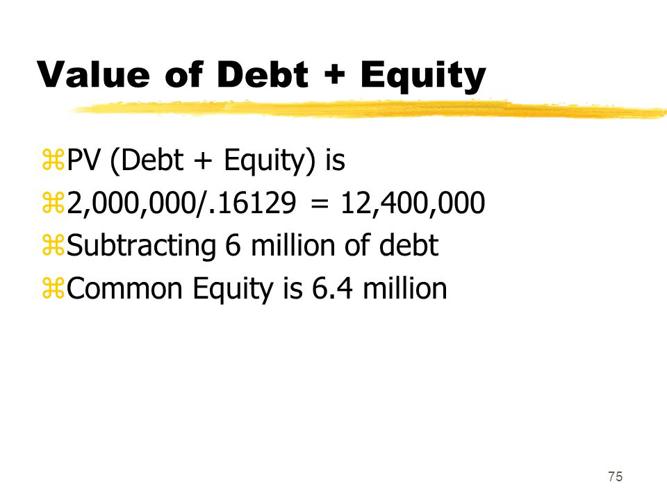 Value of Debt + Equity PV (Debt + Equity) is