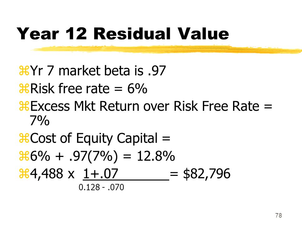 Year 12 Residual Value Yr 7 market beta is .97 Risk free rate = 6%