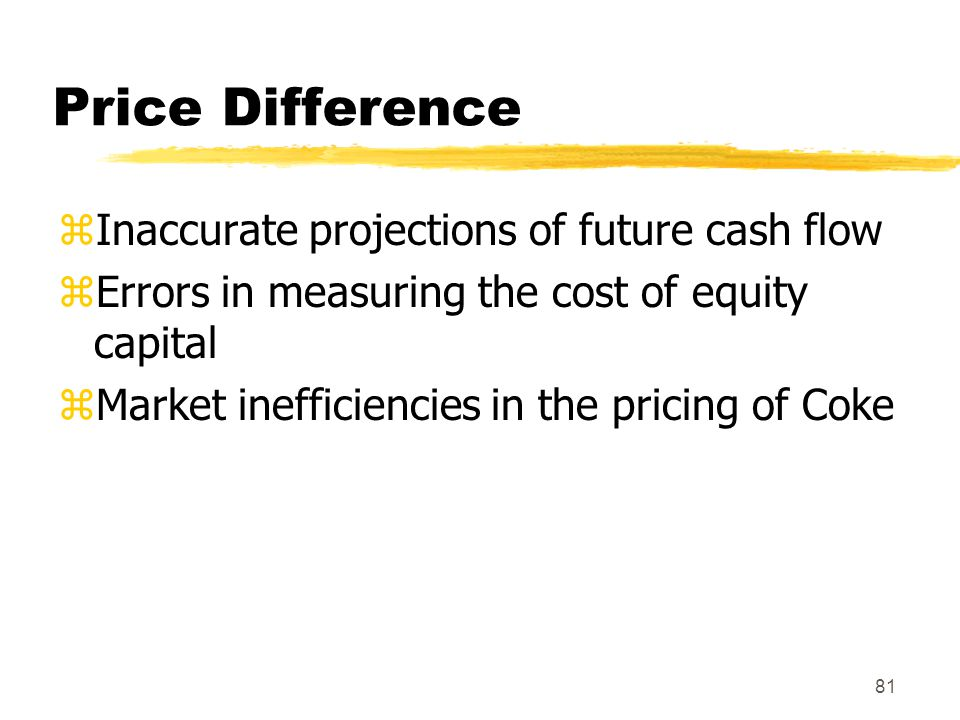 Price Difference Inaccurate projections of future cash flow