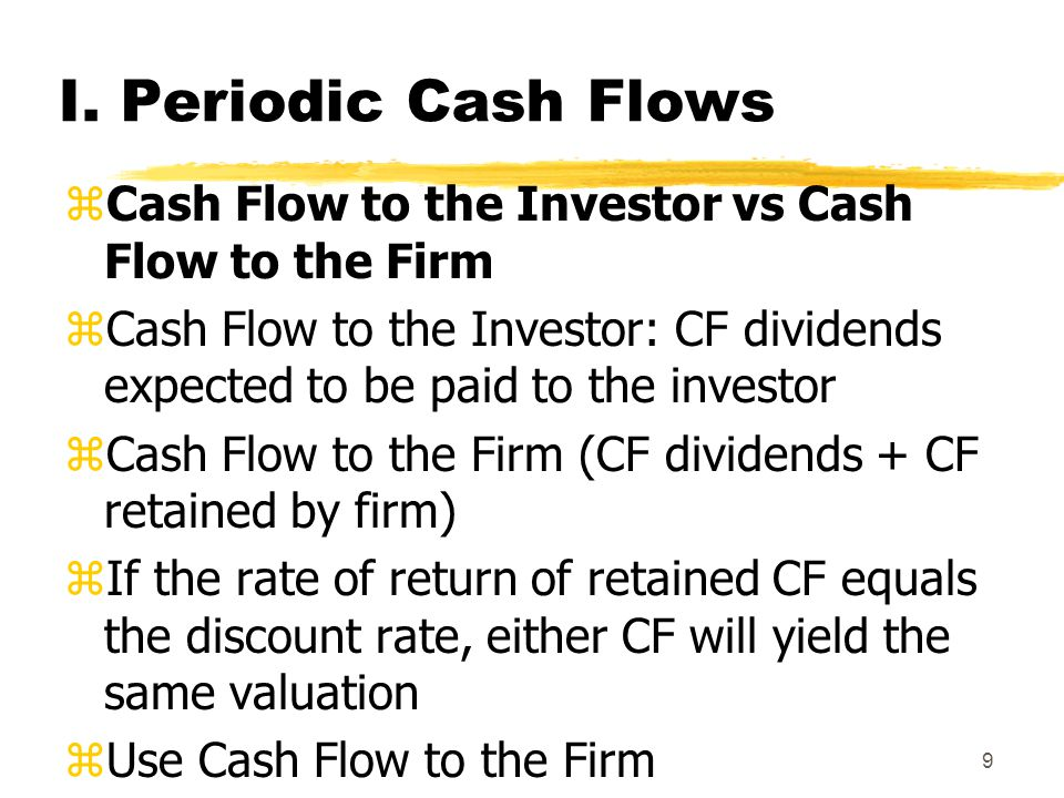 I. Periodic Cash Flows Cash Flow to the Investor vs Cash Flow to the Firm.
