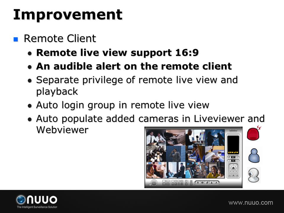 Improvement Remote Client Remote live view support 16:9