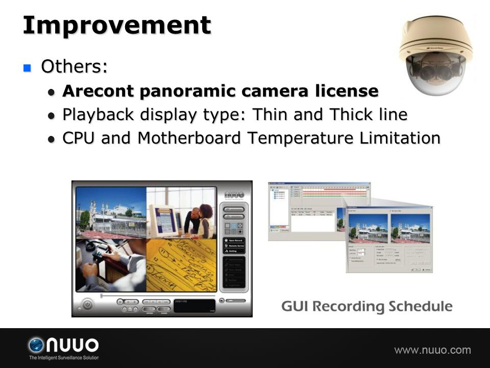 Improvement Others: Arecont panoramic camera license