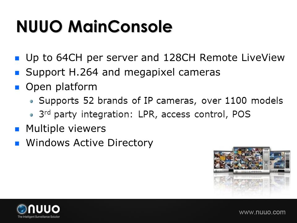 NUUO MainConsole Up to 64CH per server and 128CH Remote LiveView