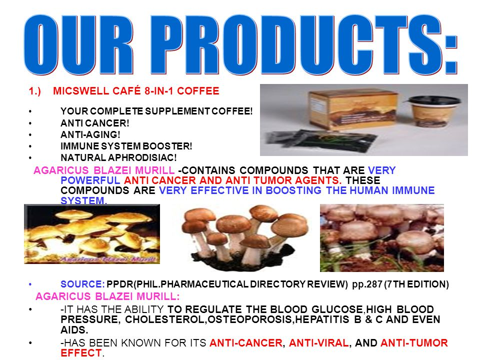 OUR PRODUCTS: 1.) MICSWELL CAFÉ 8-IN-1 COFFEE