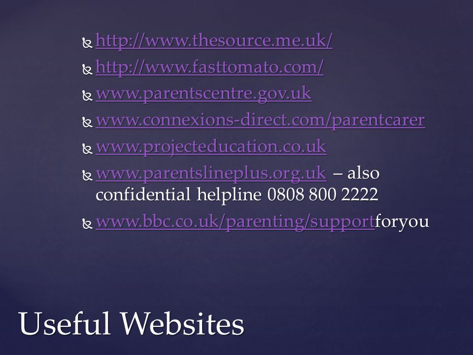 Useful Websites http://www.thesource.me.uk/ http://www.fasttomato.com/