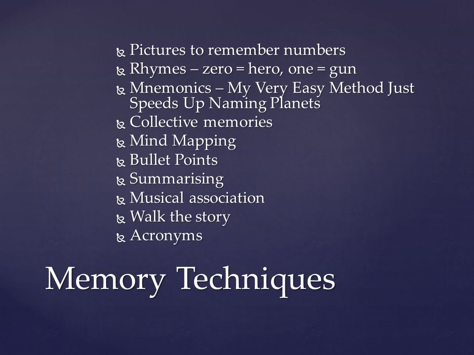 Memory Techniques Pictures to remember numbers
