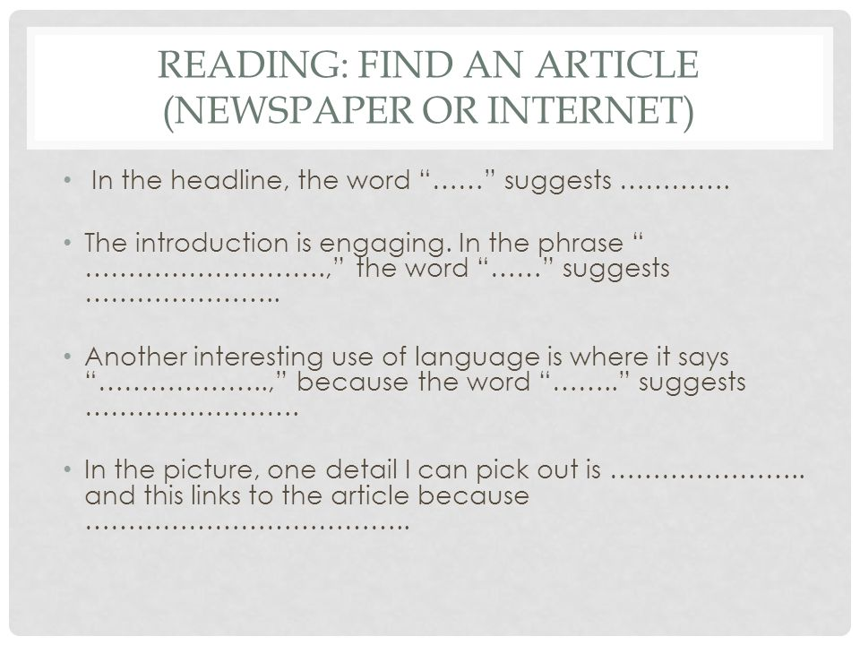 READING: find an article (newspaper or internet)