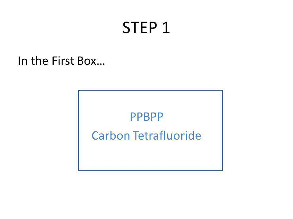 STEP 1 In the First Box… PPBPP Carbon Tetrafluoride
