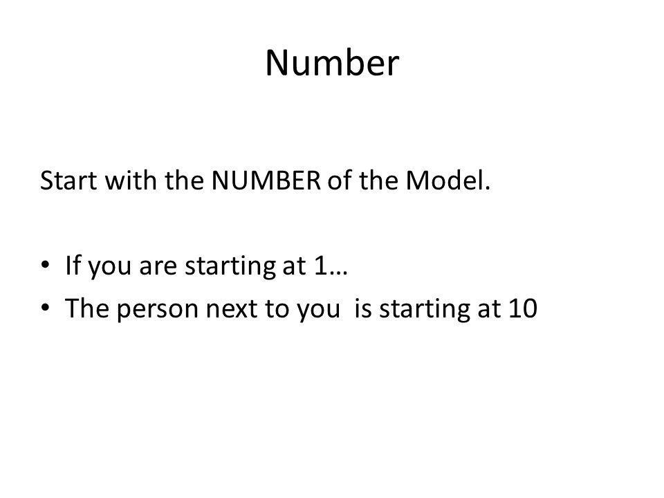 Number Start with the NUMBER of the Model. If you are starting at 1…