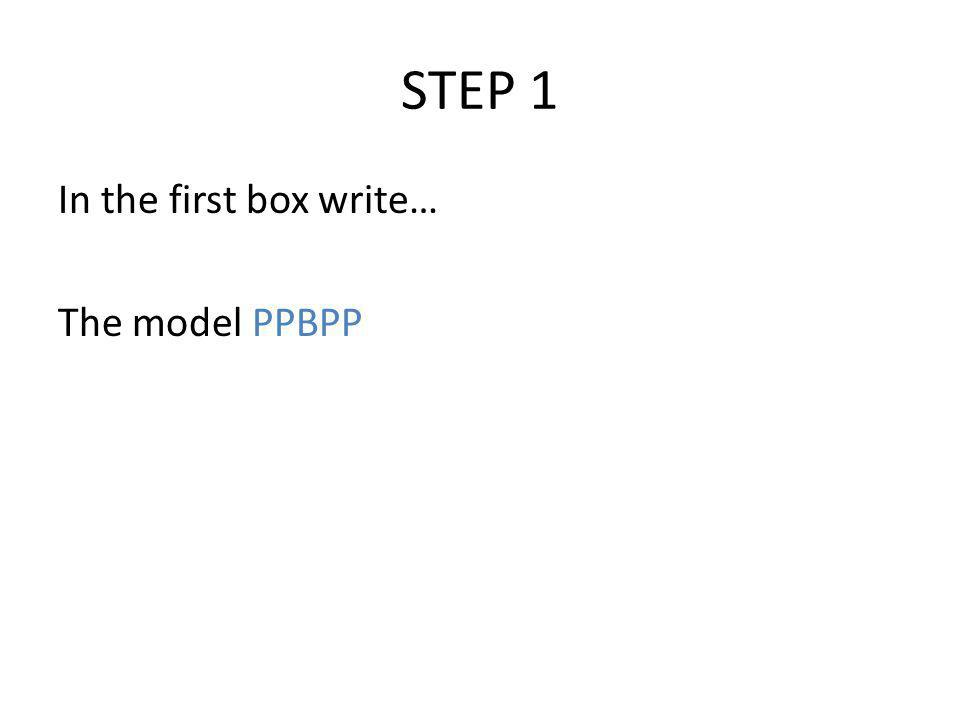 STEP 1 In the first box write… The model PPBPP