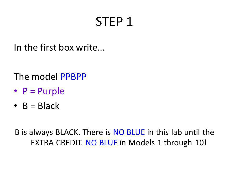 STEP 1 In the first box write… The model PPBPP P = Purple B = Black