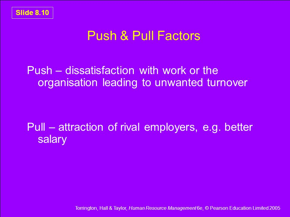Push & Pull Factors Push – dissatisfaction with work or the organisation leading to unwanted turnover.