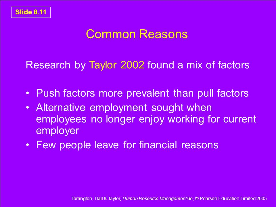 Common Reasons Research by Taylor 2002 found a mix of factors