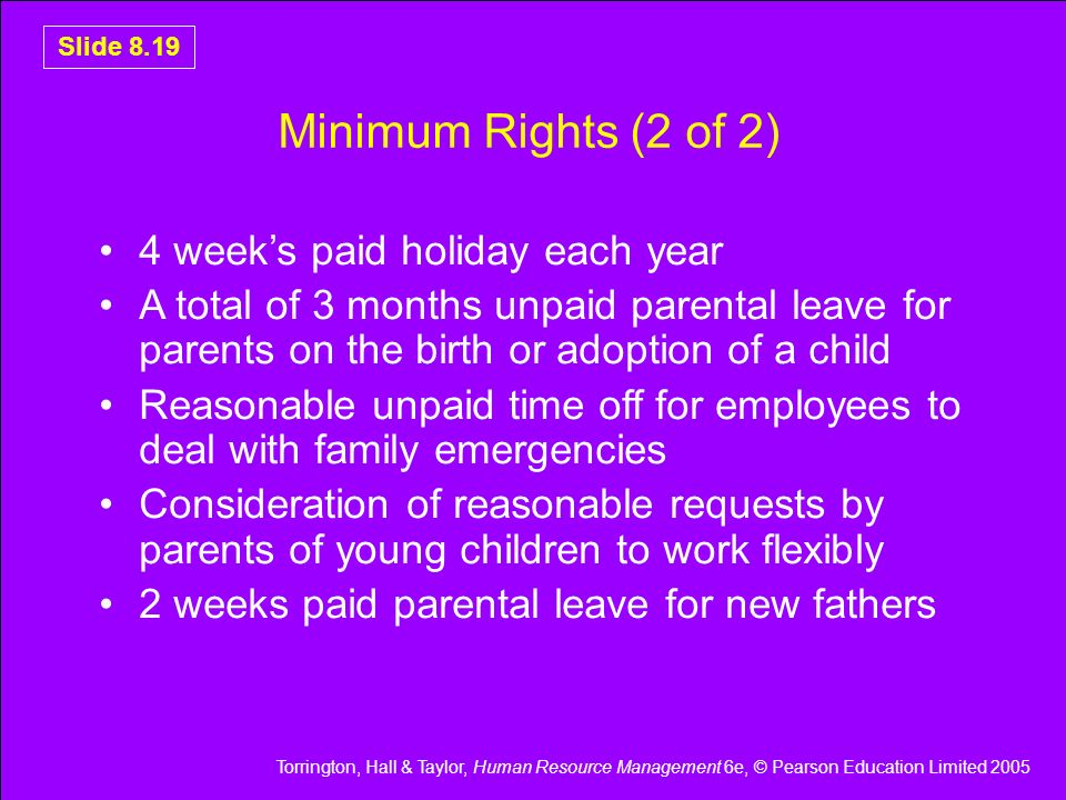 Minimum Rights (2 of 2) 4 week's paid holiday each year