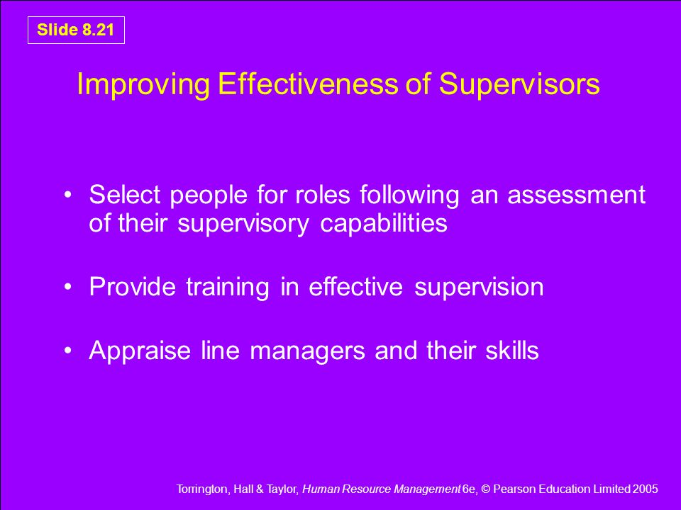 Improving Effectiveness of Supervisors