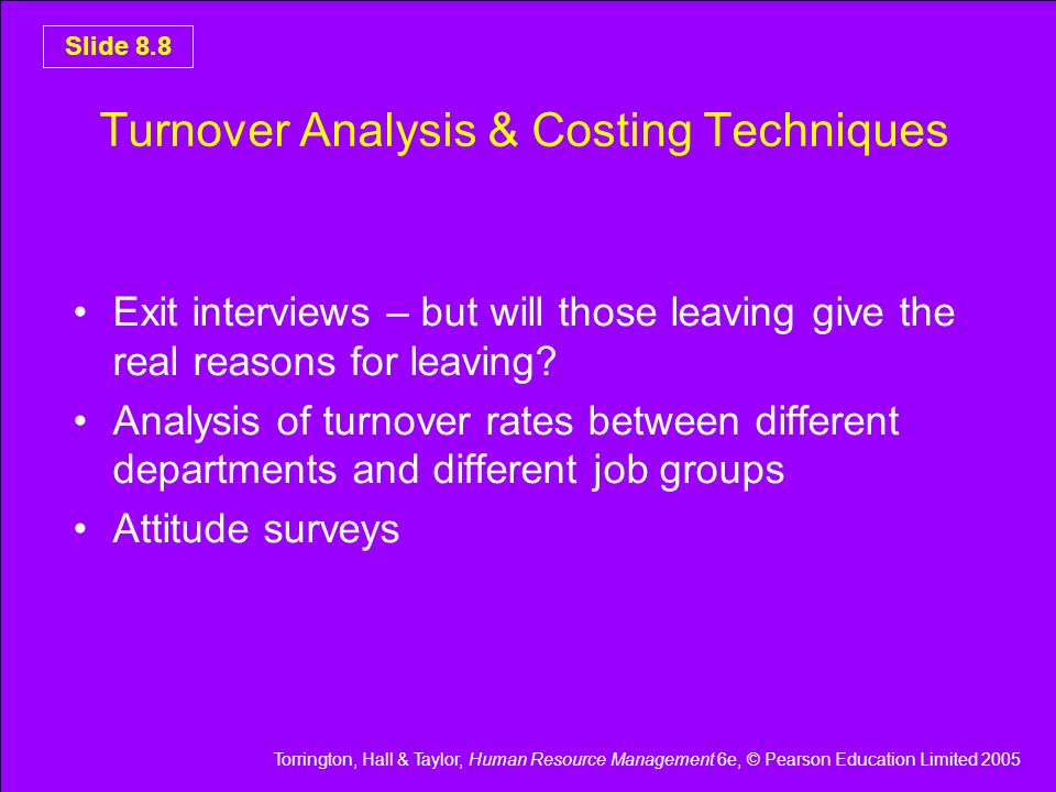 Turnover Analysis & Costing Techniques