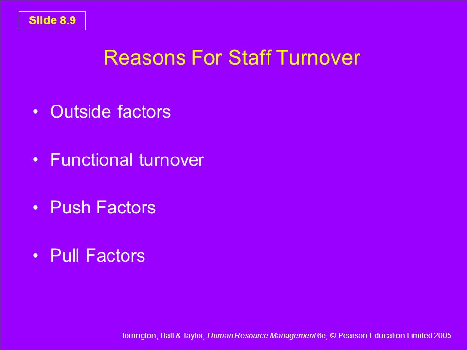 Reasons For Staff Turnover