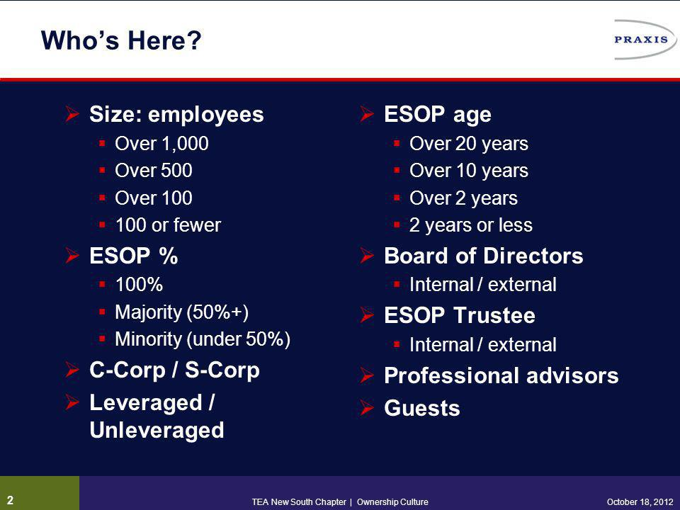 ESOP Success Drivers Supportive legal / regulatory environment