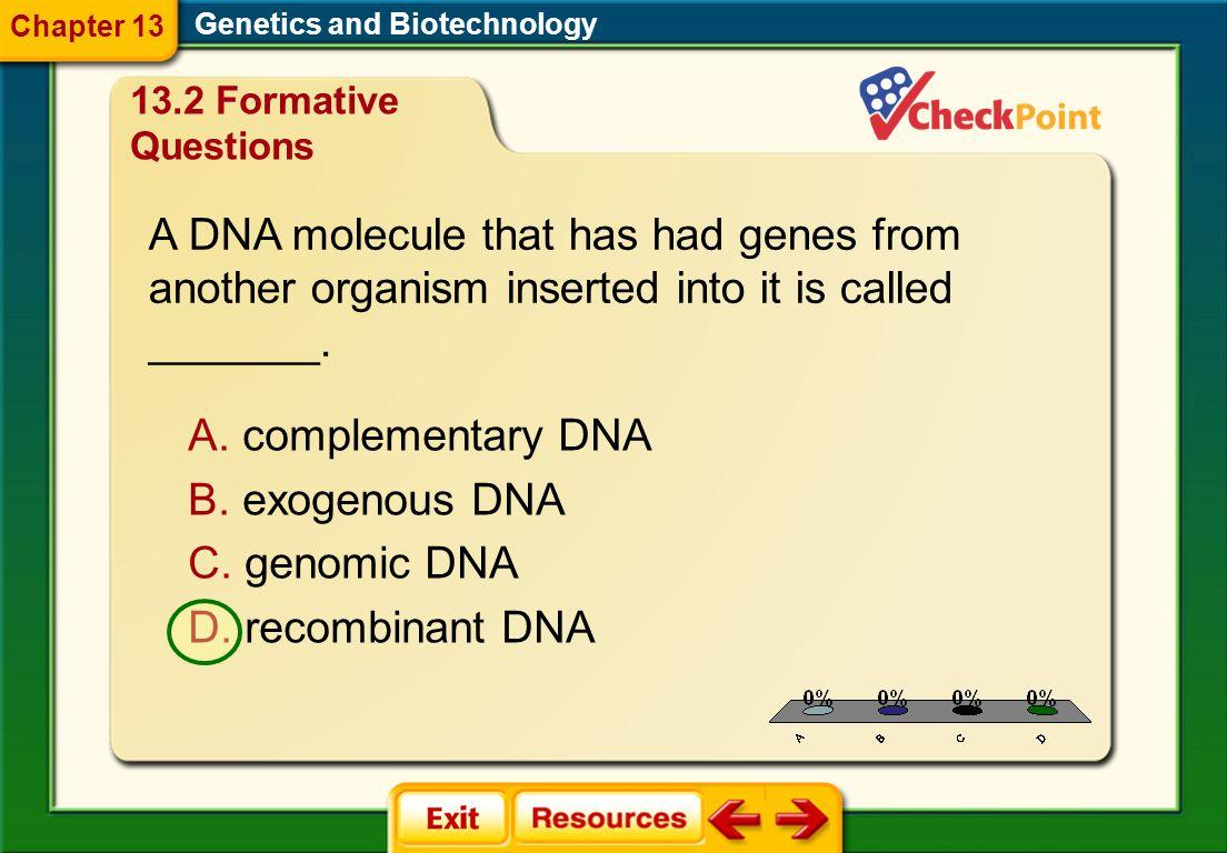 A DNA molecule that has had genes from