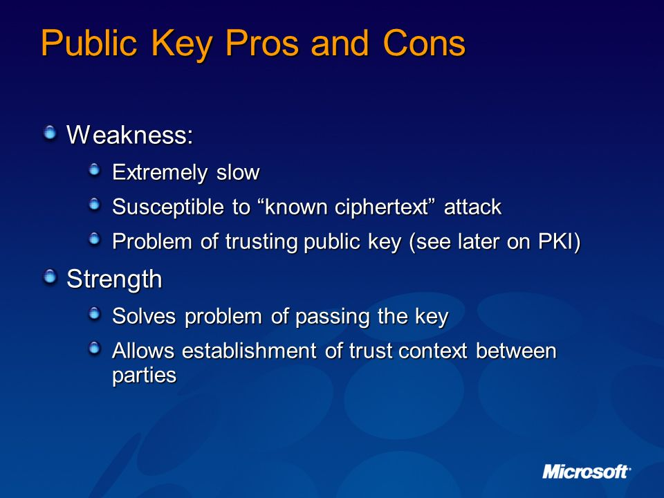 Public Key Pros and Cons