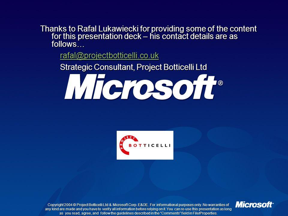Strategic Consultant, Project Botticelli Ltd