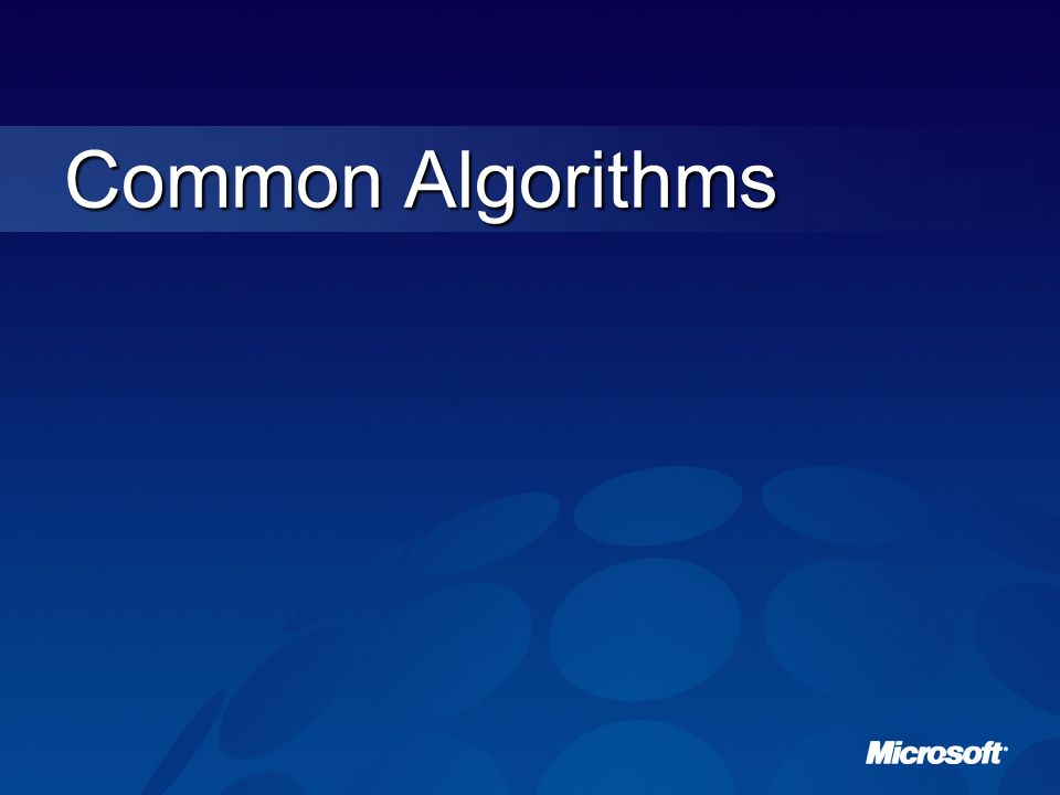 Common Algorithms