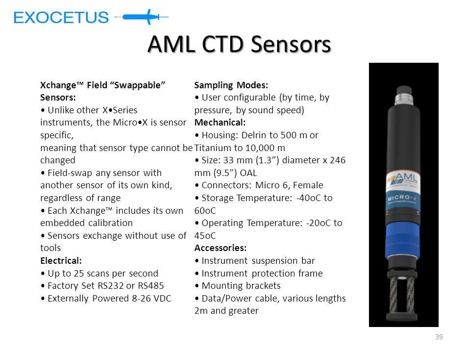 AML CTD Sensors Xchange™ Field Swappable Sensors: Sampling Modes: