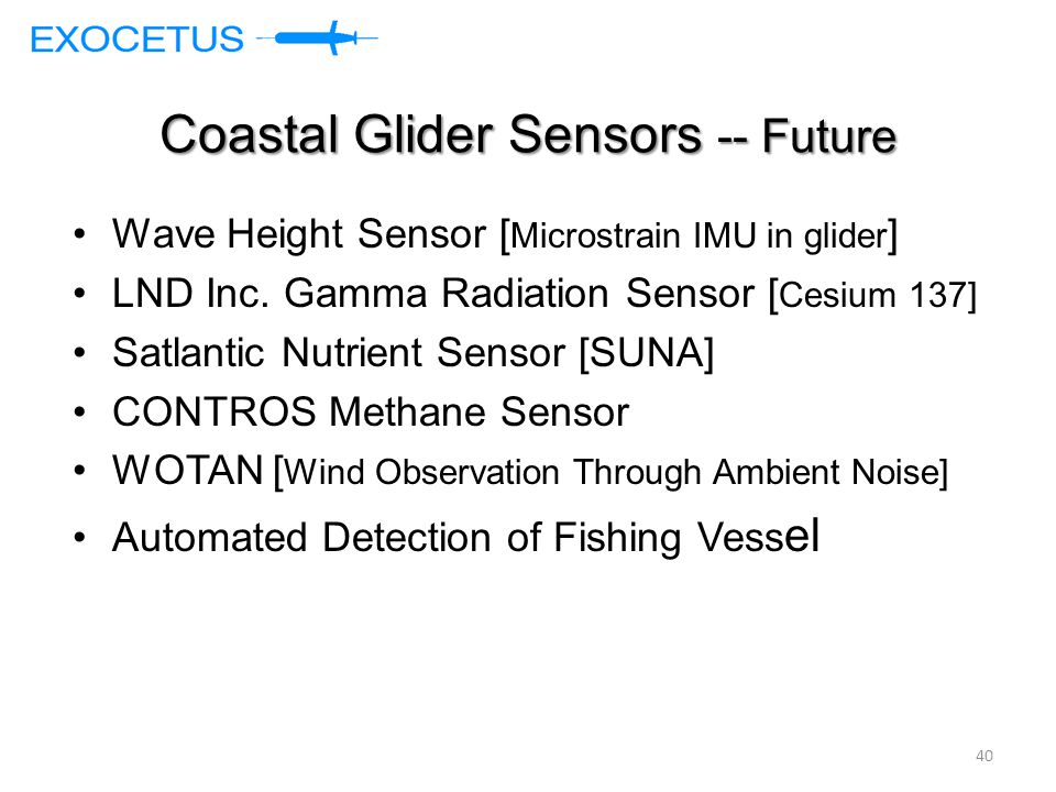 Coastal Glider Sensors -- Future