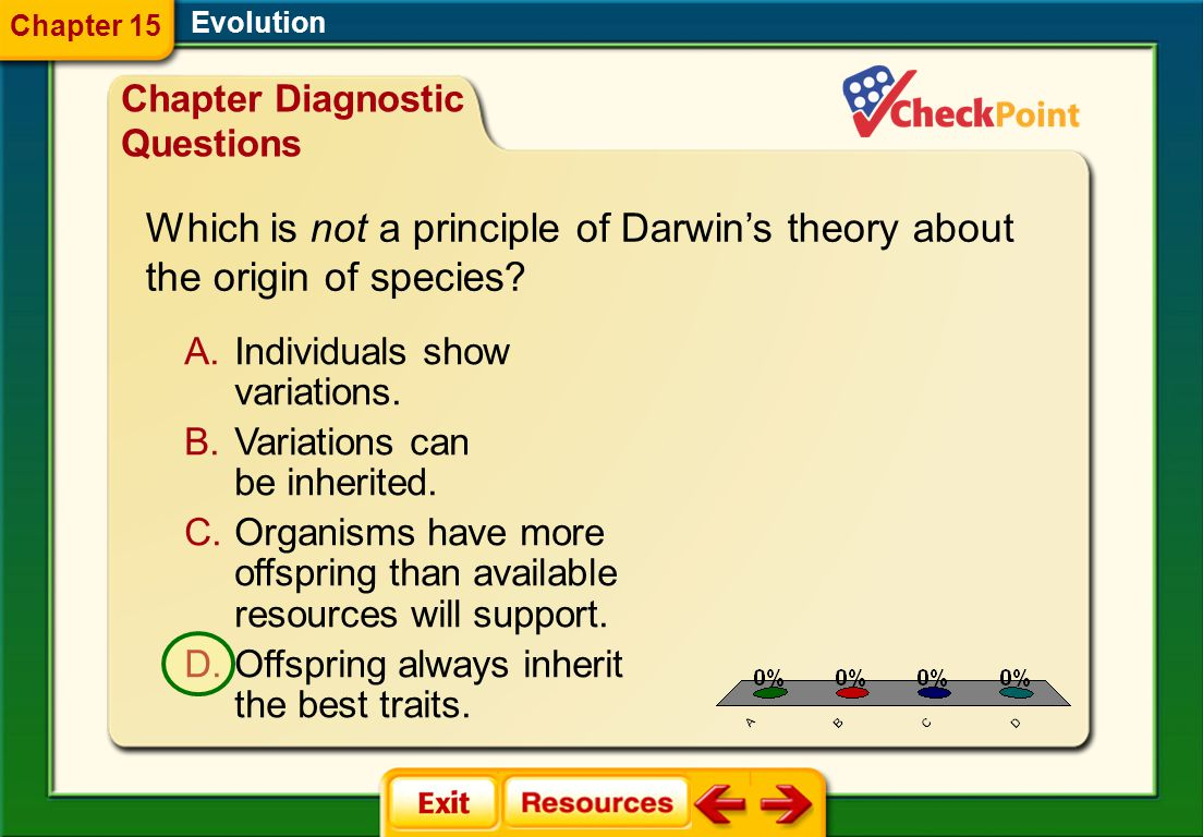 Which is not a principle of Darwin's theory about