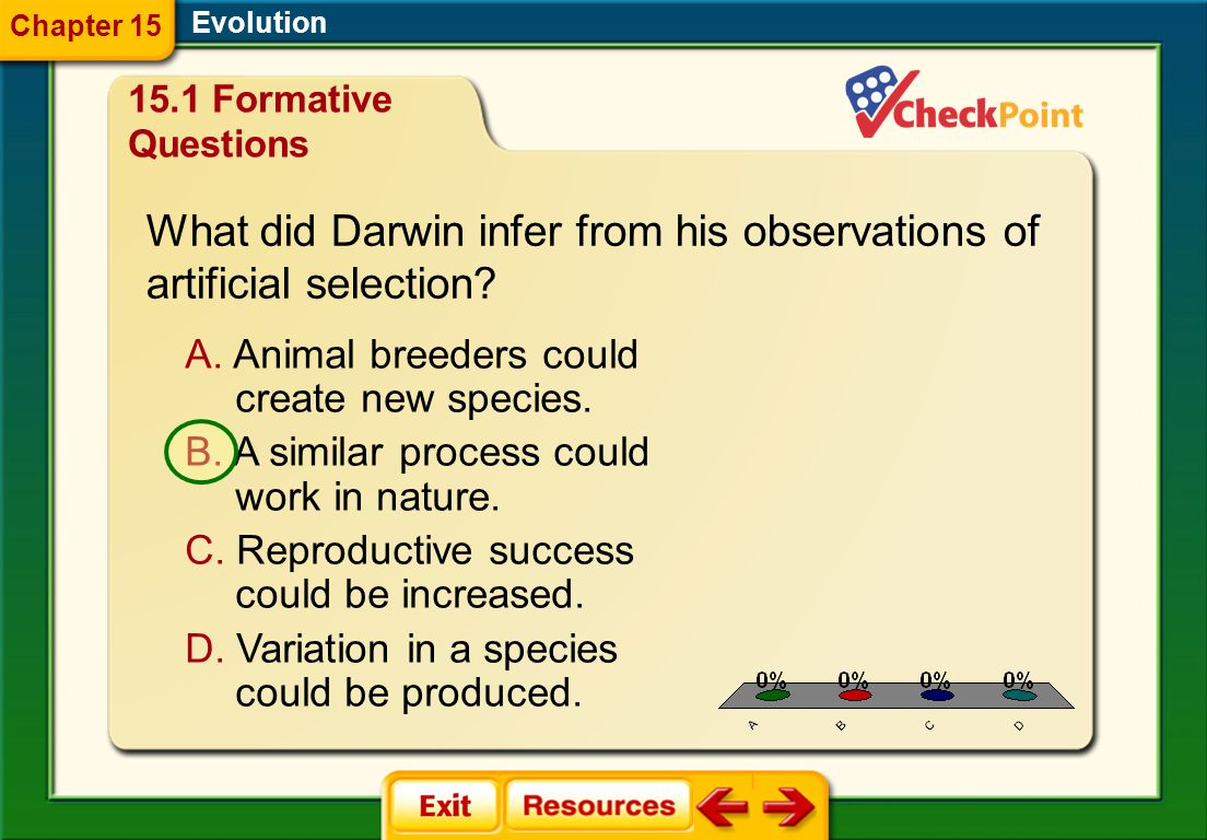 What did Darwin infer from his observations of artificial selection