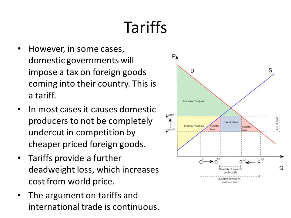 Tariffs However, in some cases, domestic governments will impose a tax on foreign goods coming into their country. This is a tariff.