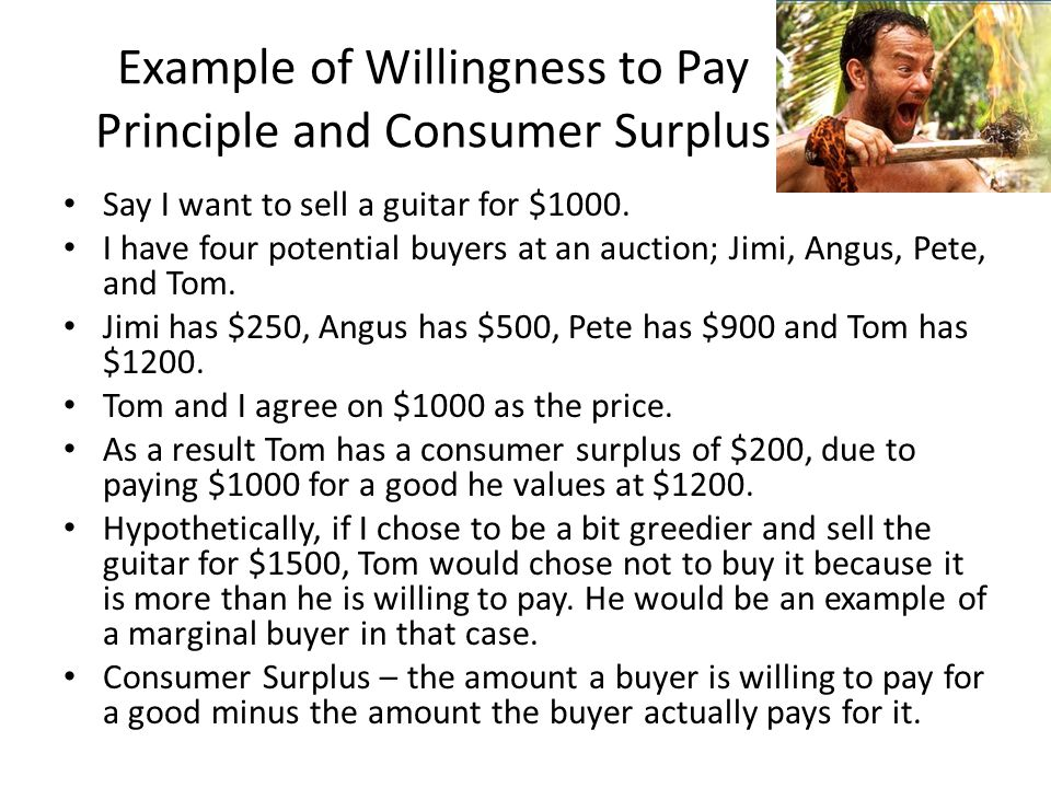 Example of Willingness to Pay Principle and Consumer Surplus
