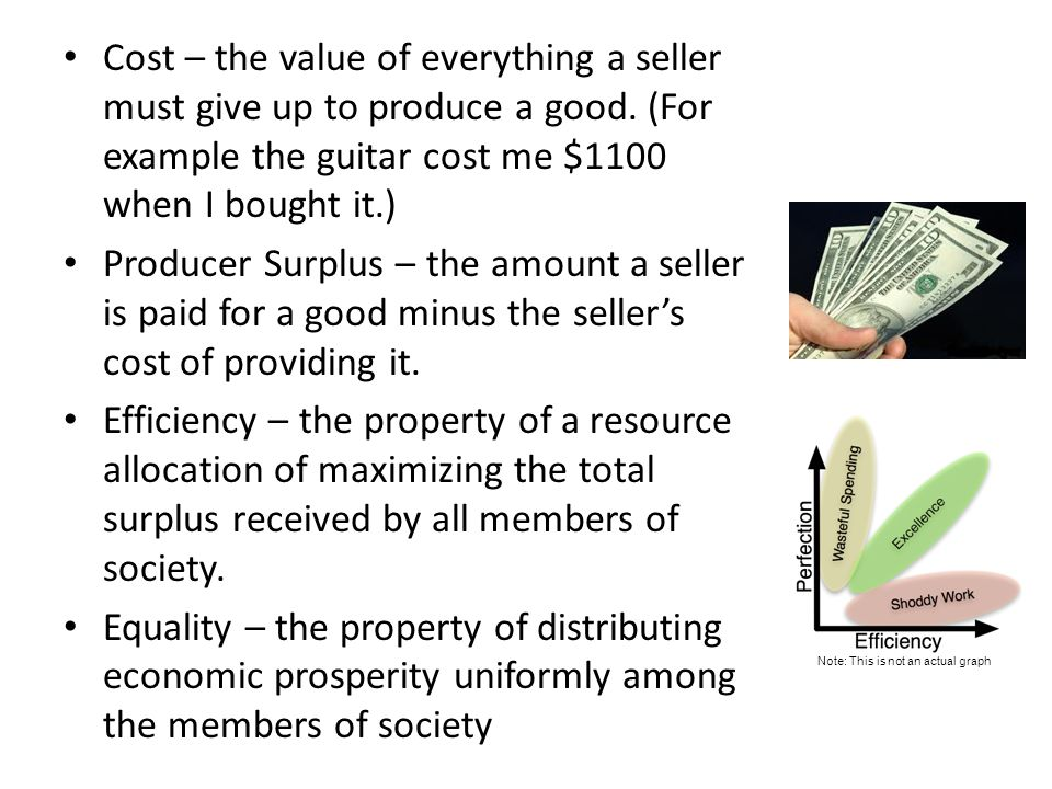 Cost – the value of everything a seller must give up to produce a good